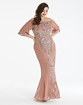 Maya Curve Embellished Bardot Maxi Dress