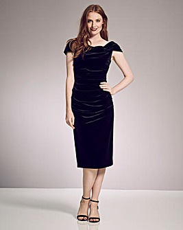 Gina Bacconi Velvet Bardot Midi Dress