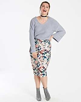 Lost Ink Abstract Print Pencil Skirt