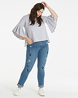 Lost Ink Embroidered Straight Leg Jeans