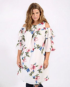 Lovedrobe Ruffle Sleeve Swing Dress