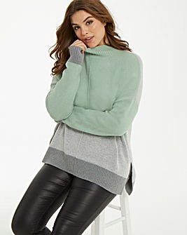 Oasis Curve Funnel Colourblock Jumper