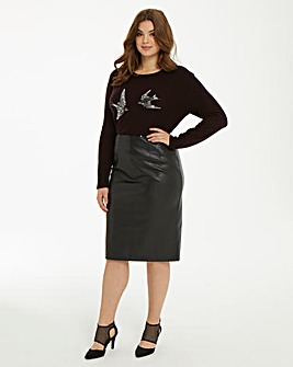 Oasis Faux Leather Pencil Skirt