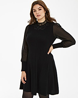 Oasis Curve Knitted Lace Sheer Dress