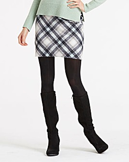 Oasis Curve Minimal Mint Check Skirt