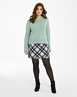 Oasis Minimal Mint Check Skirt