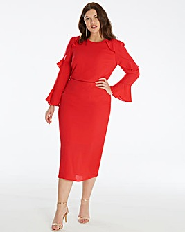 Oasis Curve Flute Sleeve Shift Dress