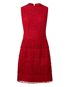 Oasis Curve Fringe and Lace Shift Dress