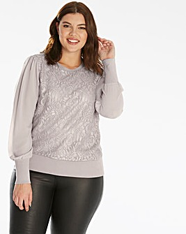 Oasis Curve Metallic Lace Jumper