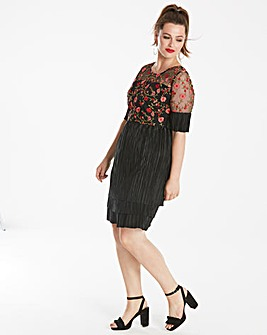 Lovedrobe Embroidered Plisse Dress