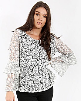Lovedrobe Lace Top With Ruffle Sleeves