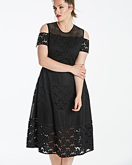 Lovedrobe Panelled Crochet Dress