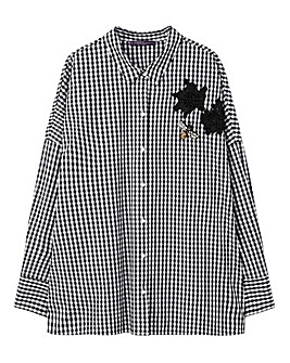Violeta by Mango Checked Badge Shirt