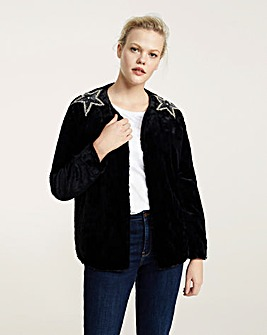 Violeta by Mango Beaded Faux Fur Jacket