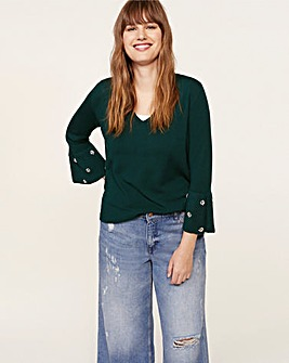 Violeta by Mango Beaded Sleeve Jumper