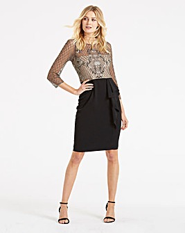 Adrianna Papell Embellished Ruffle Dress
