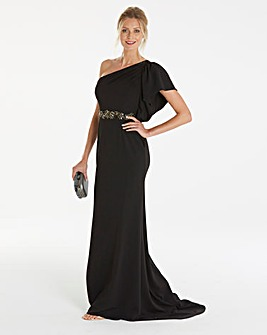 Adrianna Papell One Shoulder Beaded Maxi
