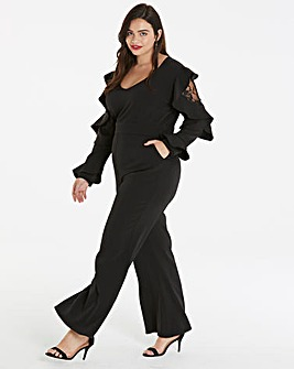 Unique 21 Lace Insert Frilled Jumpsuit