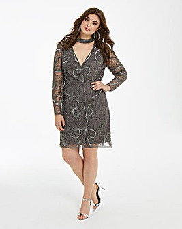 Maya Curve Embellished Wrap Choker Dress