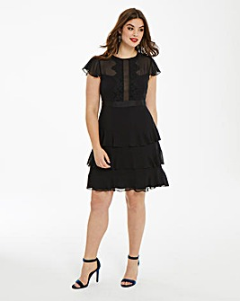 Elise Ryan Frilled Chiffon Dress