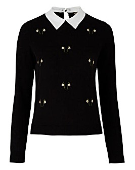Oasis Curve Snow Drop Collar Jumper