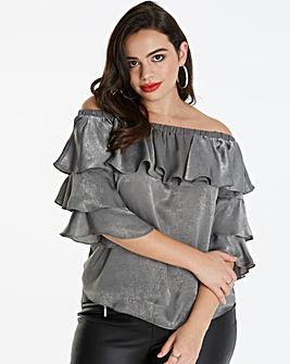 AX Paris Curve Bardot Frill Top