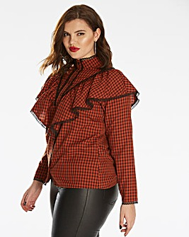 Fashion Union Frilled Checked Shirt