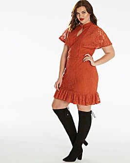 Fashion Union Lace Angel Sleeve Dress