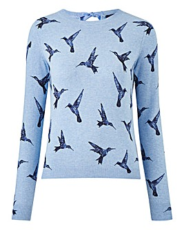 Oasis Illustrator Bird Print Knit