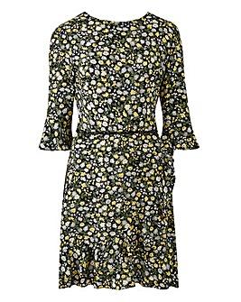 Oasis Ditsy Frill Sleeve Dress
