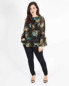 Lovedrobe Printed Top with Fluted Sleeve