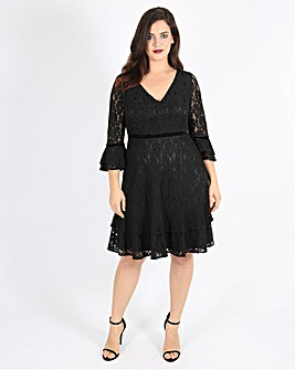 Lovedrobe Lace Dress with Velvet Trim