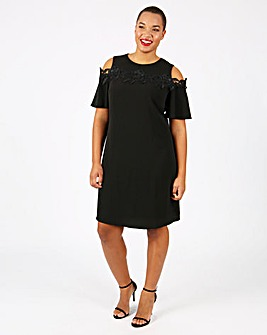 Lovedrobe Cold Shoulder Swing Dress