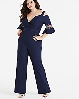 Little Mistress Pearl Detail Jumpsuit