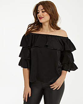 AX Paris Curve Bardot Ruffle Top