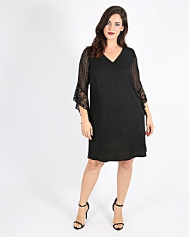 Lovedrobe Mixed Lace Sleeve Detail Dress