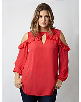 Lovedrobe GB Cold Shoulder Frill Top