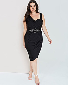 Little Mistress Black Embellished Dress