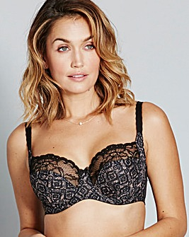 Panache Jasmine Black/Nude Balcony Bra