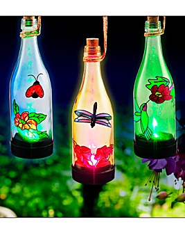 Set of 3 Solar Bottle Lantern Lights