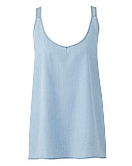 Junarose Blue Denim Vest Top