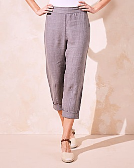 Eden Rock Linen Roll Up Crop Trousers
