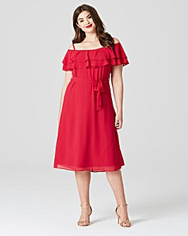 Lovedrobe Cold Shoulder Midi Dress