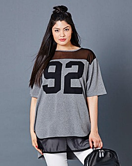Simply Be Mesh Insert Number T-shirt