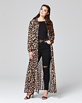 Simply Be Leopard Print Maxi Shirt Dress