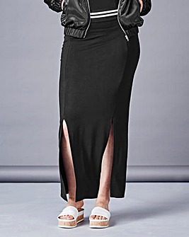 Simply Be Rib Trim Maxi Jersey Skirt