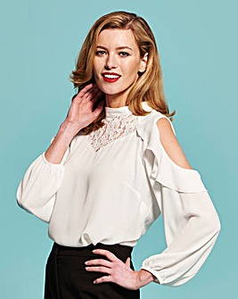 Simply Be Ivory Lace Insert Blouse
