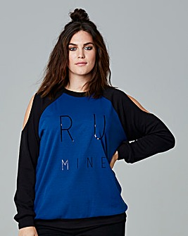 Simply Be Cold Shoulder Slogan Sweat Top