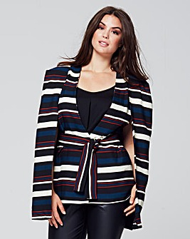 Lavish Alice Stripe Cape Blazer