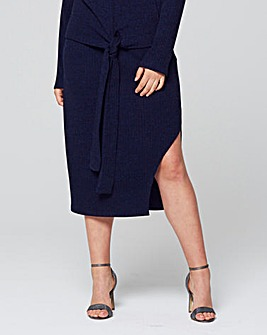 Lavish Alice Ribbed Detail Split Skirt